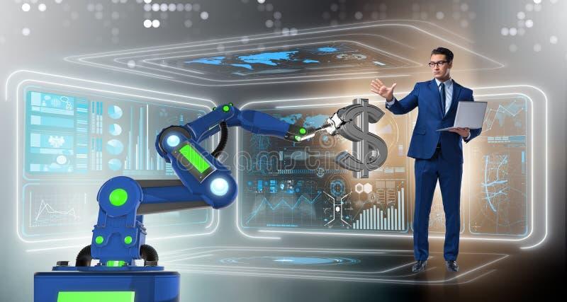 El comerciante de la moneda que usa tecnologías modernas stock de ilustración