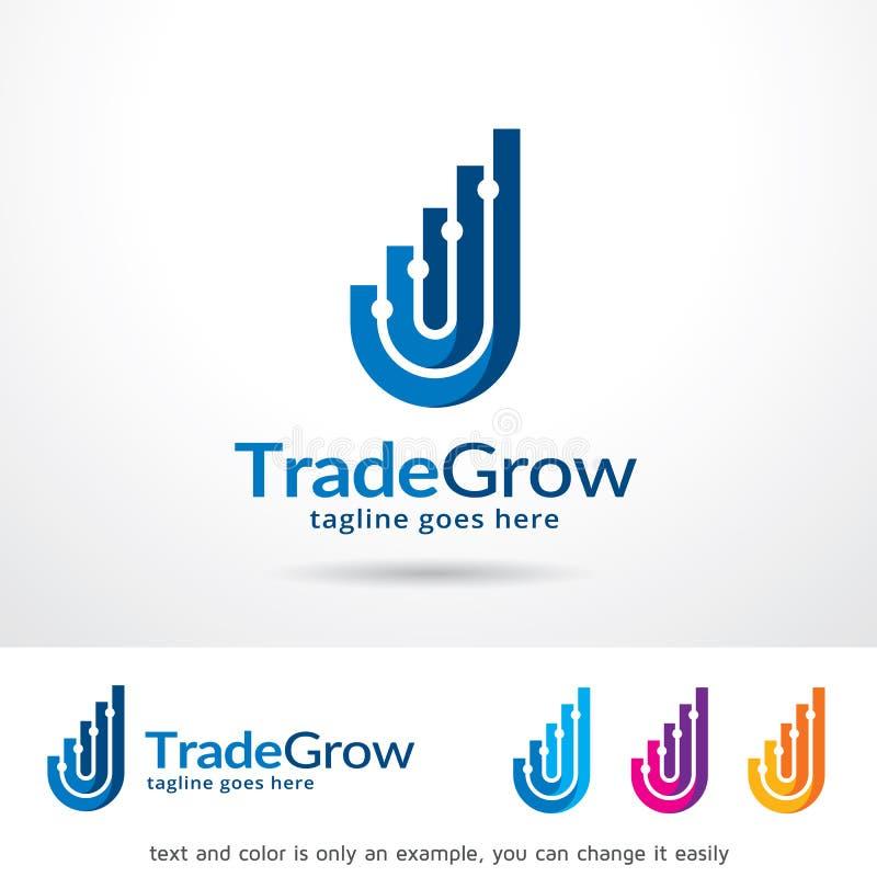 El comercio abstracto crece a la gente Logo Template Design Vector stock de ilustración