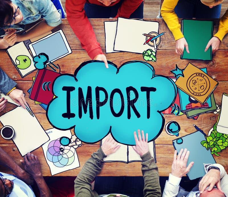 El comercio de importación entrega concepto de la carga del envío del transporte imagen de archivo libre de regalías