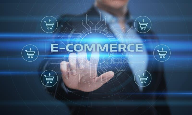 El comercio electrónico añade al concepto en línea de Internet de la tecnología del negocio de las compras del carro imágenes de archivo libres de regalías