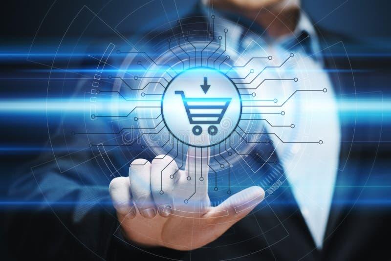 El comercio electrónico añade al concepto en línea de Internet de la tecnología del negocio de las compras del carro fotografía de archivo libre de regalías