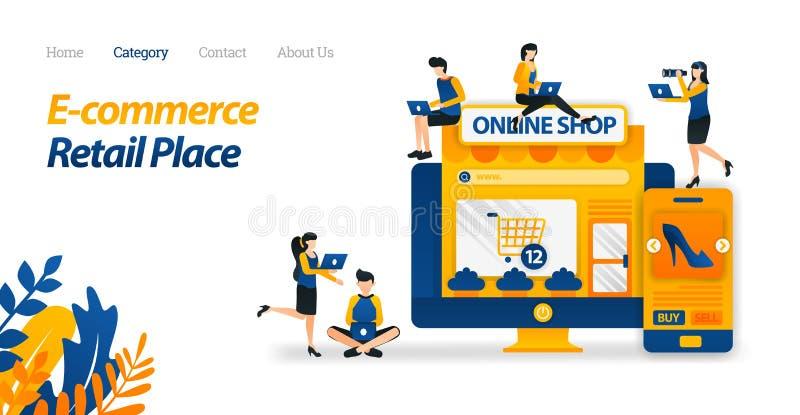 El comercio electrónico hace fácil hacer compras dondequiera encendido de la pantalla Porciones de la compra de mercancías de muc stock de ilustración