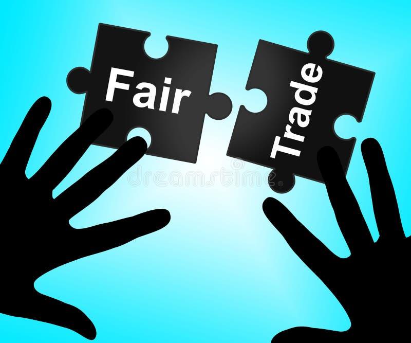 El comercio justo indica el ambiente y la mercancía de la compra ilustración del vector
