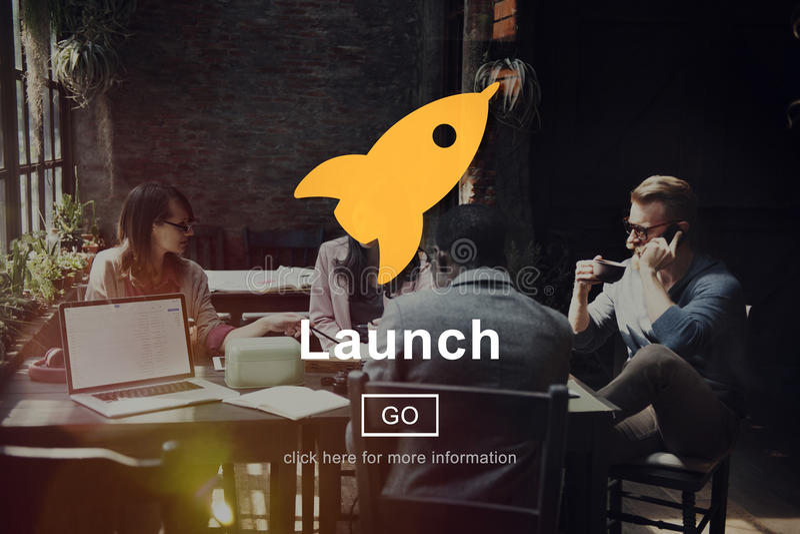 El comienzo del lanzamiento comienza a Rocket Ship Icon Concept imagenes de archivo