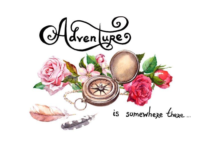 El compás del vintage, flores, las plumas retras con el texto se aventura concepto del recorrido watercolor libre illustration