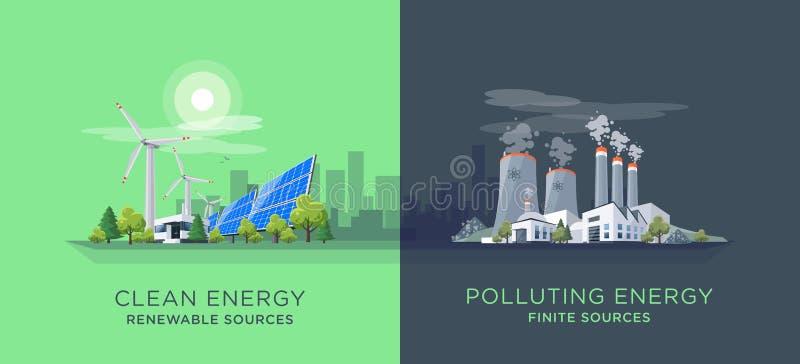 El comparar limpio y centrales eléctricas de la energía de la contaminación ilustración del vector