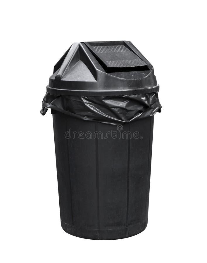 El compartimiento para la basura, basura plástica negra, basura, compartimiento de los desperdicios para recicla foto de archivo