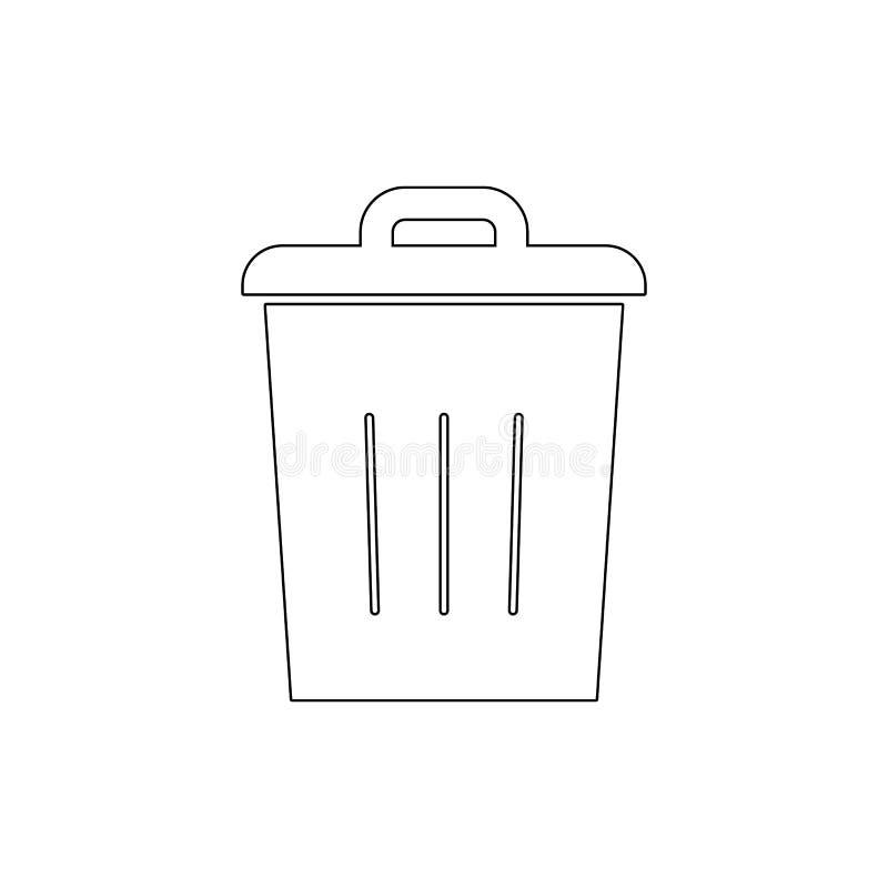 El compartimiento suprime vacío por completo para reciclar para quitar el icono del esquema de la basura Las muestras y los s?mbo ilustración del vector