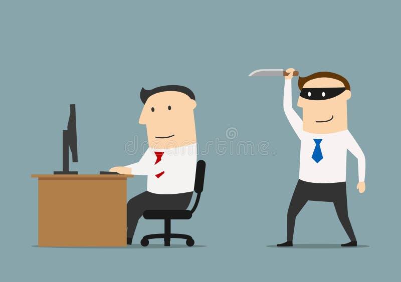 El competidor se escabulle un cuchillo al hombre de negocios libre illustration