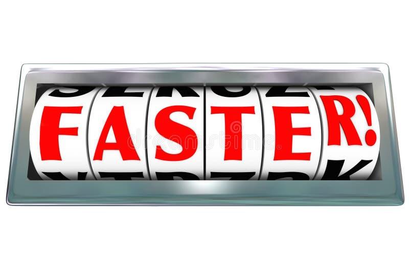 El competir con rápido rápido de la palabra de una velocidad más rápida del odómetro ilustración del vector