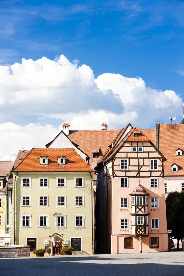 el complejo de casas medievales llamó Spalicek, Cheb, República Checa fotografía de archivo