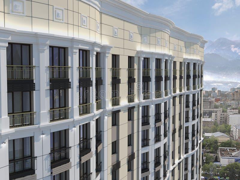 El complejo residencial moderno para las familias jovenes, 3D rinde, el ejemplo 3D libre illustration