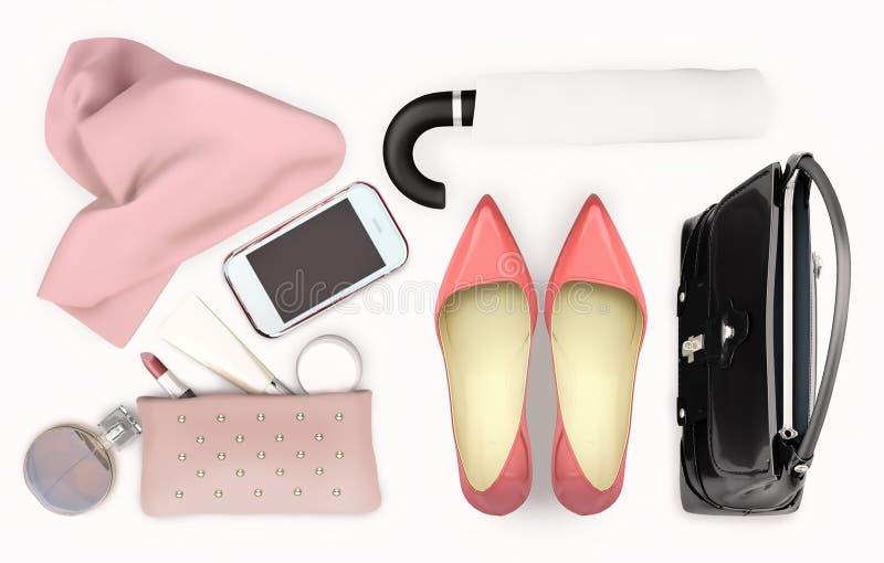 El complemento de las mujeres, el cuidado de piel y el maquillaje están situados en el fondo blanco Aislado foto de archivo libre de regalías