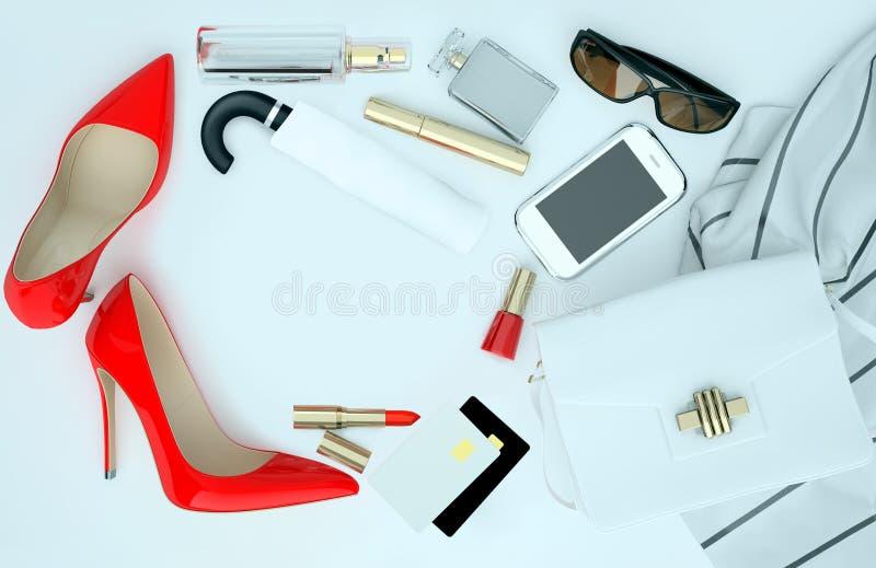 El complemento de las mujeres, el cuidado de piel y el maquillaje est?n situados en el fondo blanco Aislado fotos de archivo
