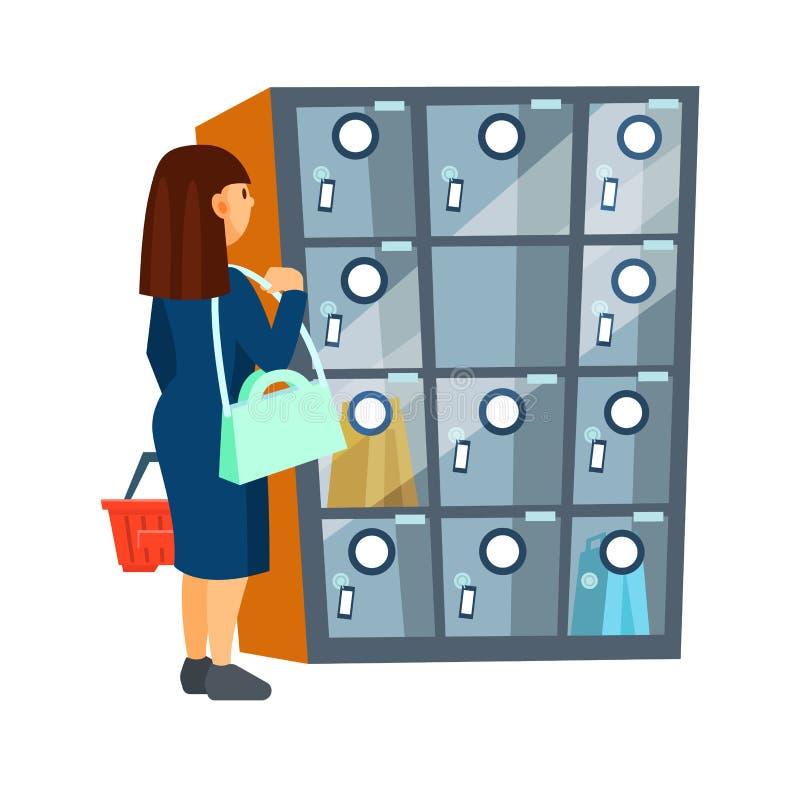 El comprador de la muchacha se coloca al lado del trastero que deja de lado para el dep?sito libre illustration