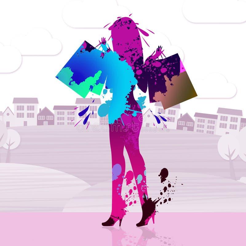 El comprador de la mujer indica actividad comercial y la compra stock de ilustración