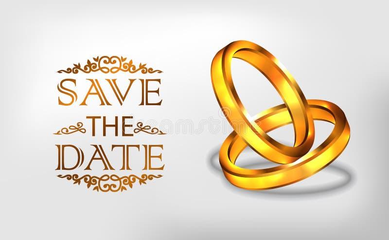 el compromiso de oro del anillo 3D propone el casarse de la plantilla romántica de la bandera del cartel libre illustration