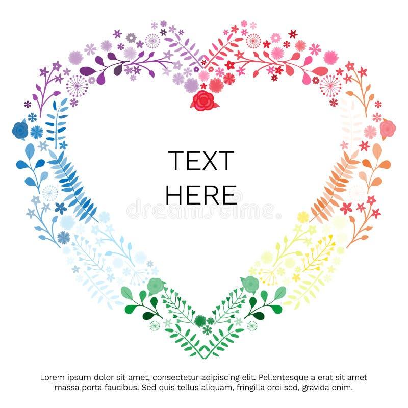 """El compuesto del corazón de las flores coloreadas multi en el """"Your blanco del fondo y de la inscripción manda un SMS al  del  ilustración del vector"""