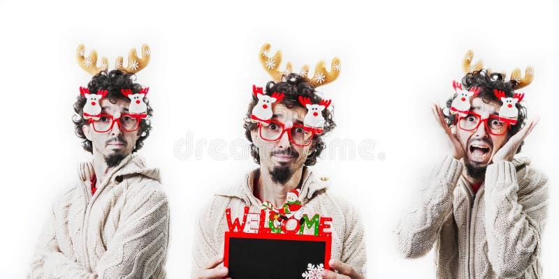 El compuesto del hombre tres se viste para arriba con el traje de la Navidad foto de archivo libre de regalías