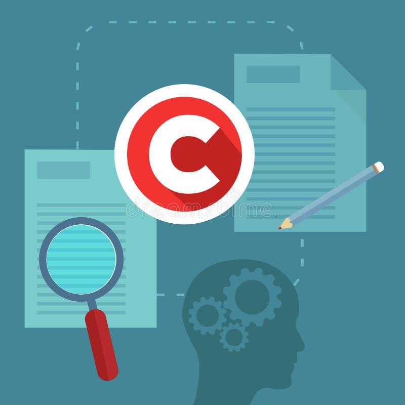 El concepto abstracto de copyrighting, de propiedad, de propiedad intelectual y de autor endereza la protección libre illustration