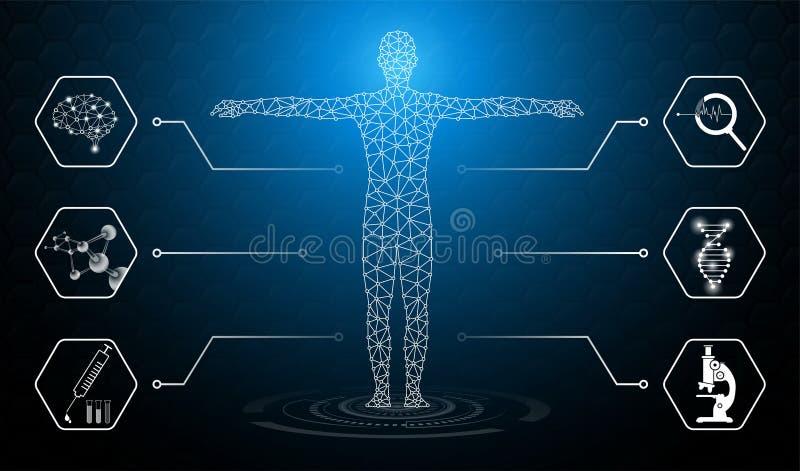 El concepto abstracto de la tecnología del fondo en luz azul, el cerebro y el cuerpo humano curan stock de ilustración
