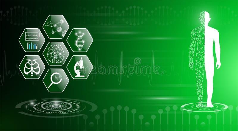 El concepto abstracto de la tecnolog?a del fondo en luz verde, cuerpo humano cura ilustración del vector