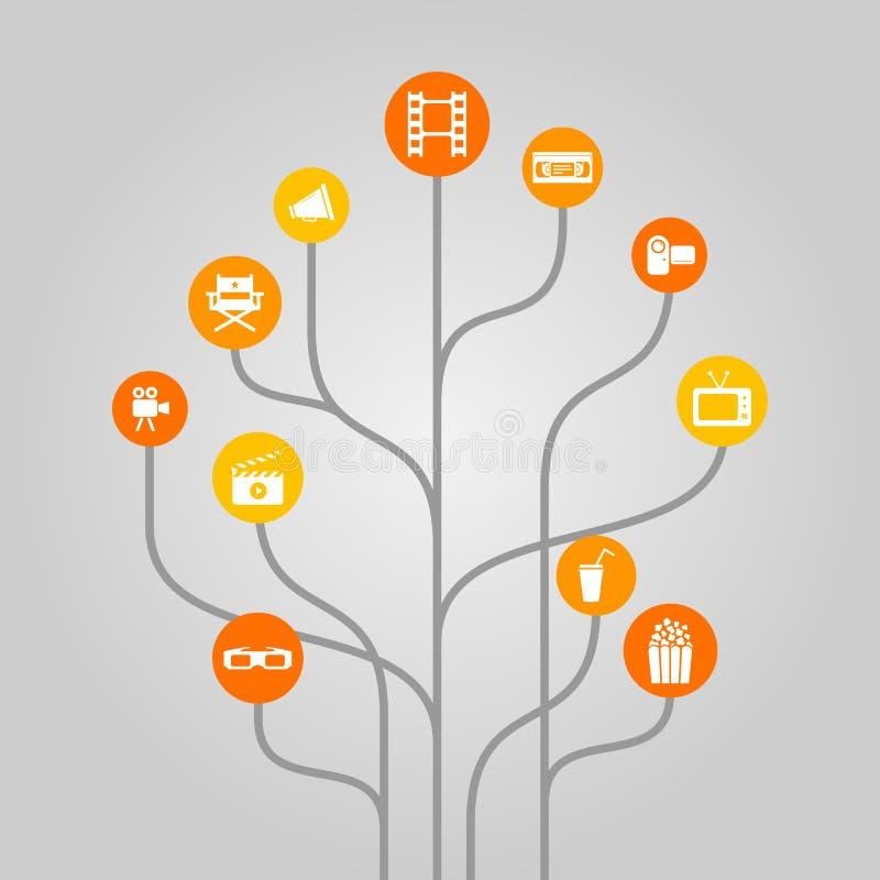 El concepto abstracto del ejemplo del árbol del icono se relacionó con la película, la industria del cine, la grabación de vídeo  stock de ilustración