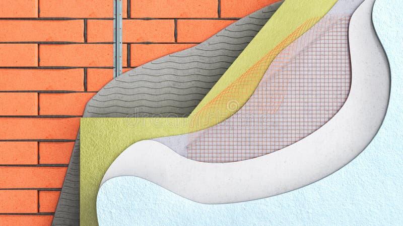 El concepto acodado 3d del aislamiento t?rmico de la pared de ladrillo hace cercano para arriba ilustración del vector