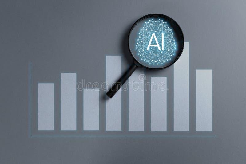El concepto aument? analytics Analytics del negocio y concepto financiero de la tecnolog?a imagen de archivo