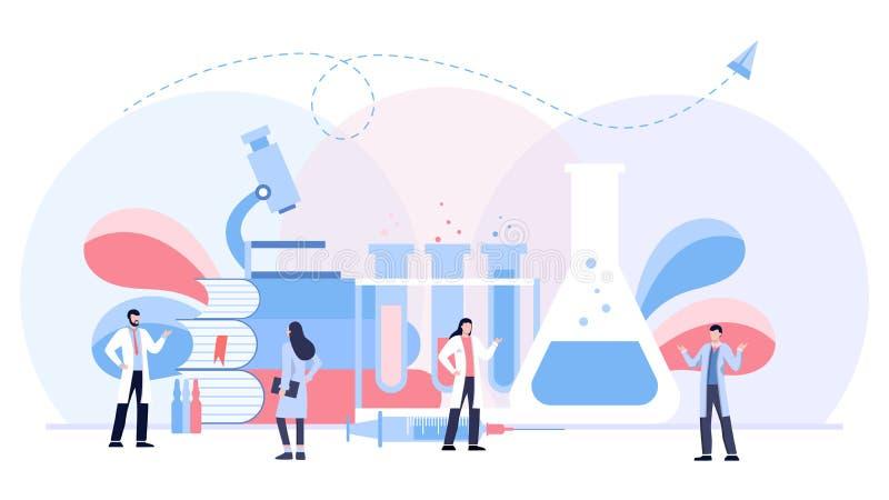 El concepto biológico del ejemplo del vector del laboratorio, scientis que trabajan en el laboratorium, fondo de la plantilla del ilustración del vector