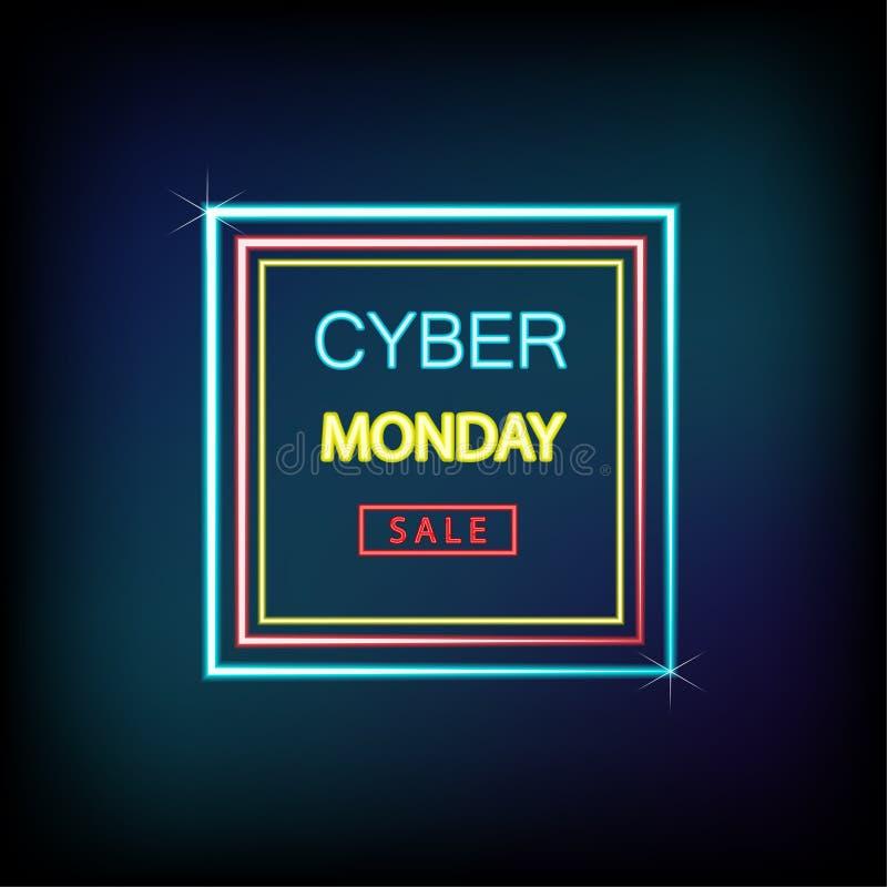 El concepto cibernético de lunes es el capítulo de neón sobre la publicidad, anuncio del estilo de las rebajas de las ventas de l ilustración del vector