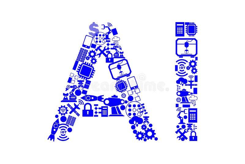 El concepto computacional moderno de la inteligencia artificial ilustración del vector