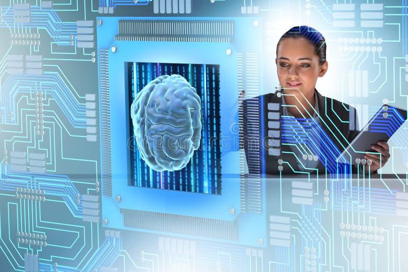 El concepto computive cognoscitivo con la mujer que presiona los botones fotos de archivo