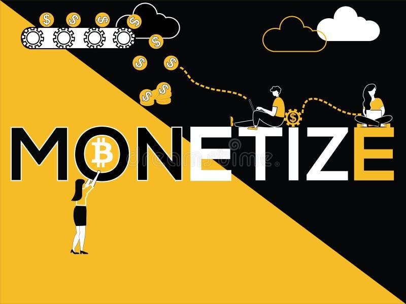 El concepto creativo de la palabra Monetize y gente que hace actividades múltiples ilustración del vector