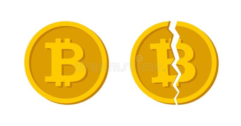 El concepto Cryptocurrency Bitcoin dividió Vector plano del diseño del efectivo Bitcoin roto vector Blockchain y crisis de moneda libre illustration