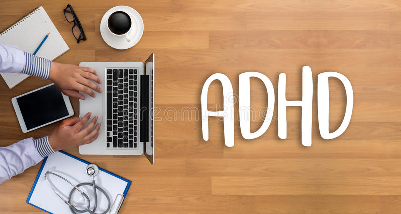 El CONCEPTO de ADHD imprimió la hiperactividad d del déficit de atención de la diagnosis fotos de archivo