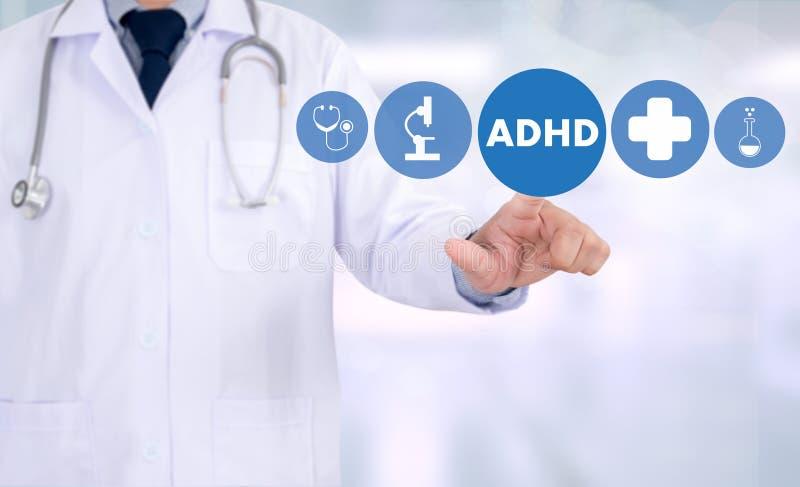 El CONCEPTO de ADHD imprimió la hiperactividad d del déficit de atención de la diagnosis fotos de archivo libres de regalías