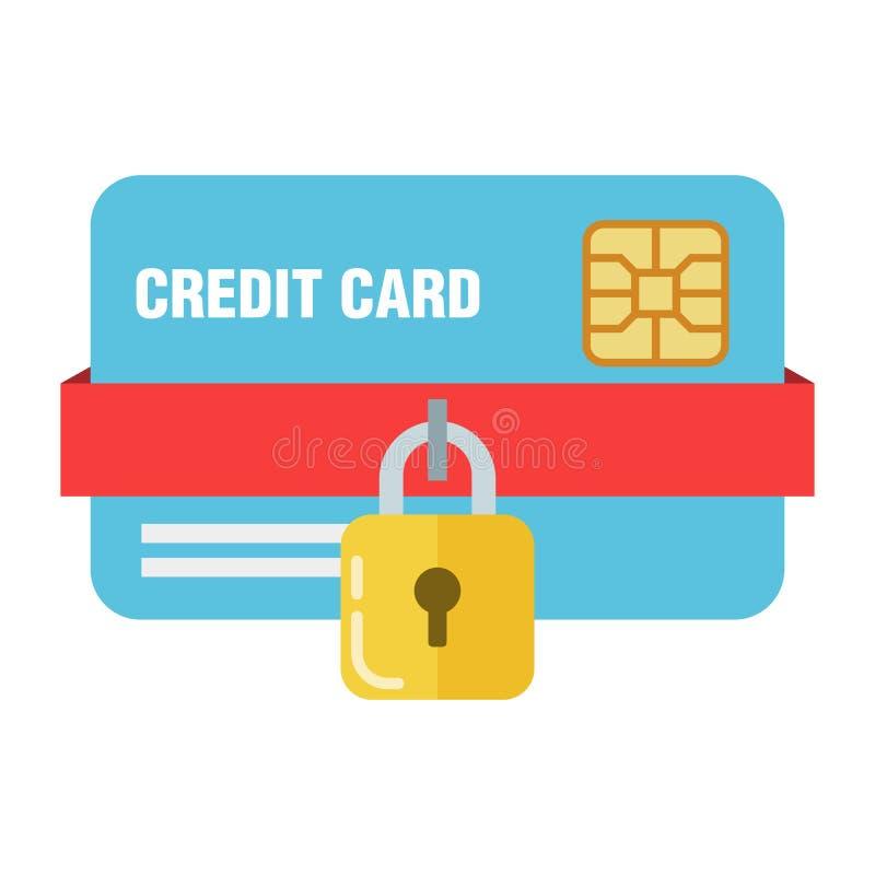 El concepto de banco o de protección de la tarjeta de crédito Candado en una tarjeta plástica La seguridad de su dinero Calidad s stock de ilustración