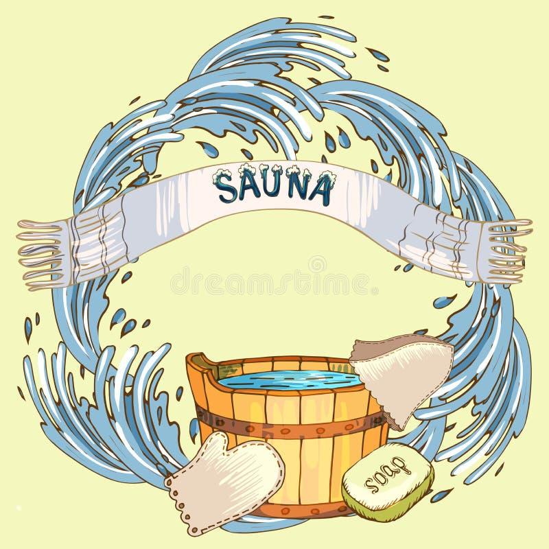 El concepto de belleza y de salud, servicios de la sauna Los accesorios individuales del baño, los artículos para la cara y el cu stock de ilustración