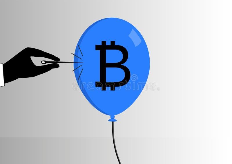 El concepto de burbuja del bitcoin estalló o disminución de la moneda del bitcoin stock de ilustración