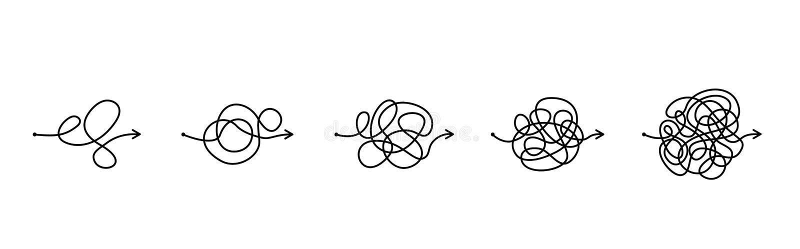 El concepto de caos y desorden de pensamientos La solución a la salida de las situaciones y de los problemas difíciles de la vida ilustración del vector