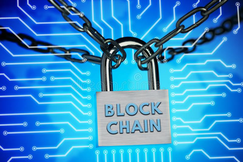 El concepto de cierre, protección Blockchain de la tecnología, encripción del tráfico de Internet fotos de archivo libres de regalías