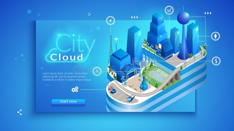 El concepto de ciudad elegante inteligente de la nube libre illustration