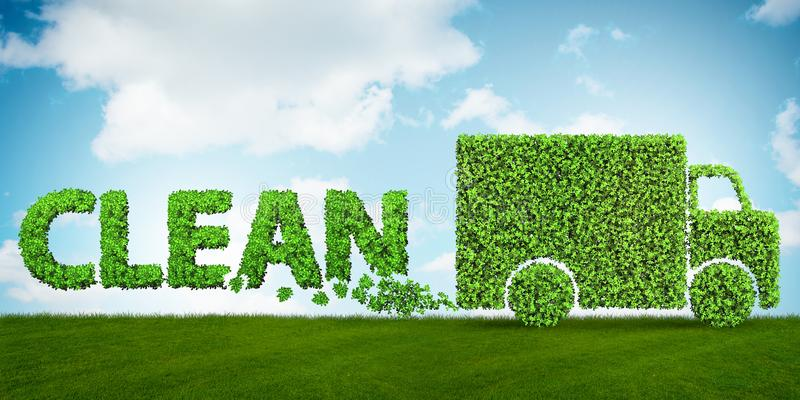 El concepto de combustible limpio y de coches amistosos del eco - representación 3d stock de ilustración