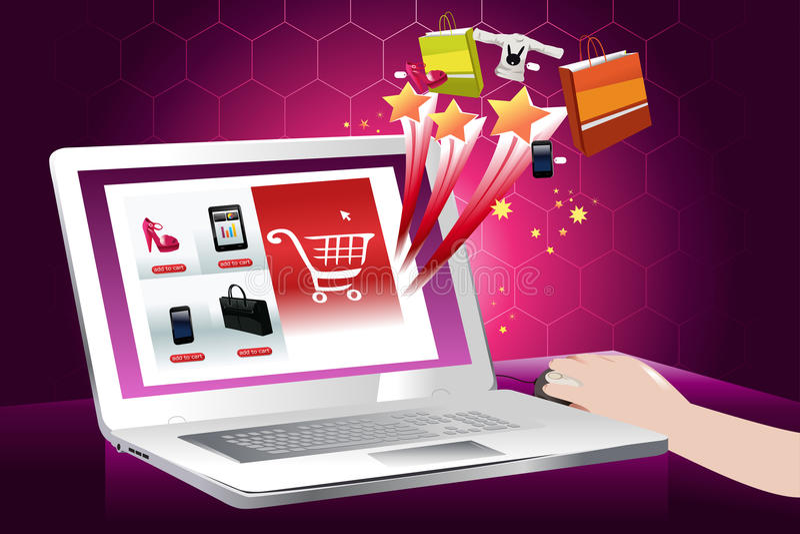 El concepto de compras en línea stock de ilustración