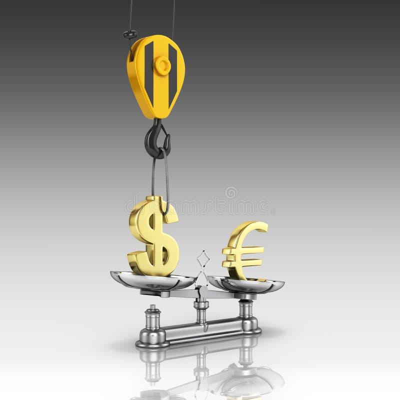 El concepto de dólar de la ayuda del tipo de cambio contra euro la grúa tira el dólar hacia arriba y baja el euro en fondo gris d stock de ilustración