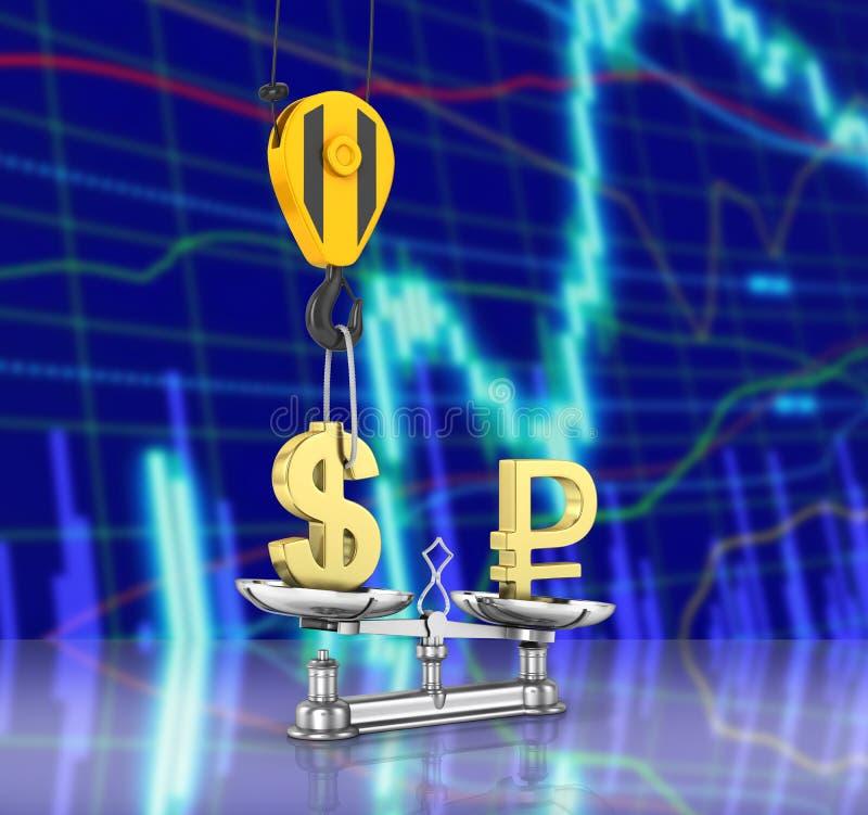 El concepto de dólar de la ayuda del tipo de cambio contra euro la grúa tira el dólar hacia arriba y baja la rublo en el fondo 3d libre illustration