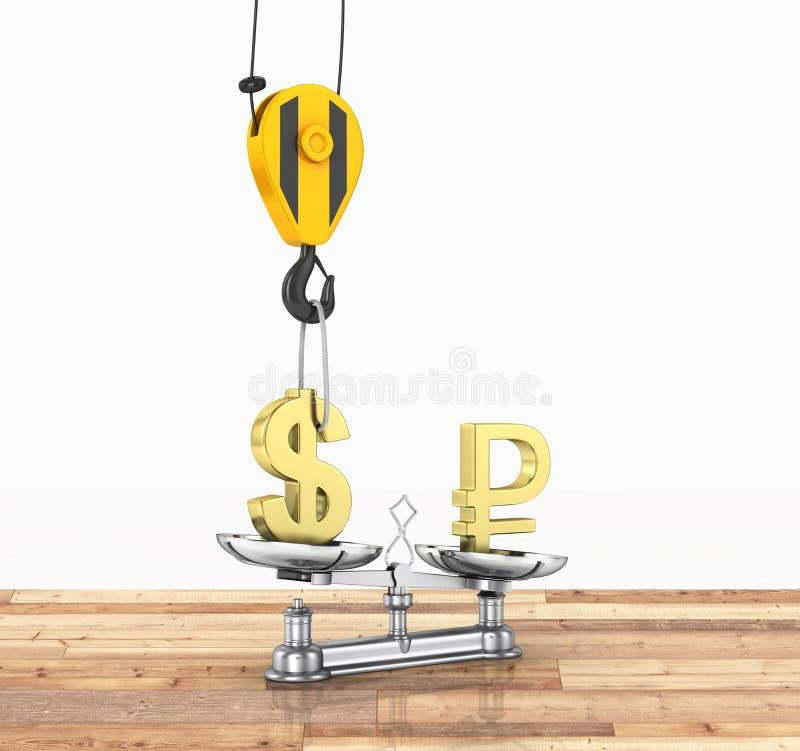 El concepto de dólar de la ayuda del tipo de cambio contra euro la grúa tira el dólar hacia arriba y baja la rublo en el piso de  ilustración del vector