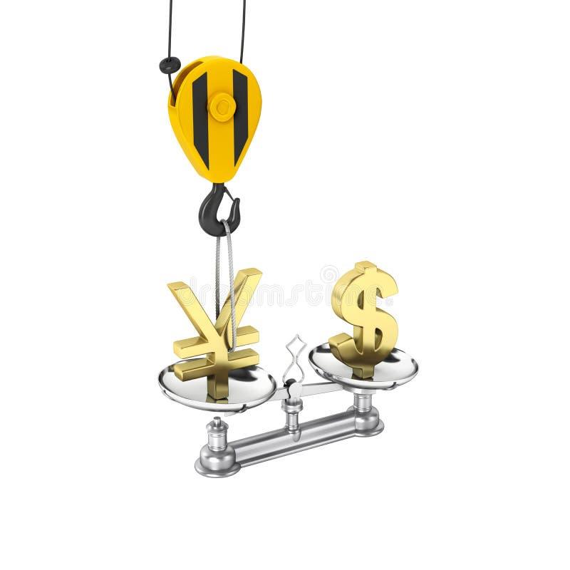 El concepto de dólar de la ayuda del tipo de cambio contra euro la grúa tira los yenes hacia arriba y baja el dólar en el fondo b libre illustration