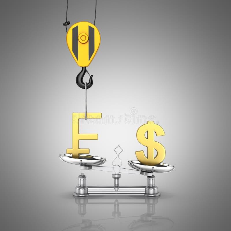 El concepto de dólar de la ayuda del tipo de cambio contra franco la grúa tira el franco hacia arriba y baja el dólar en el fondo libre illustration